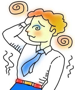 Cartoon of dizziness / vertigo sufferer