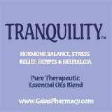 Tranquility essential oil blend for hormonal balance, stress relief, herpes