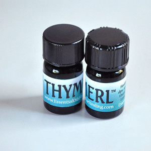 2 bottles thymerl™ essential oil blend for natural thyroid support | Photo Copyright © Cynthe Brush www.gaiaspharmacopeia.com www.gaiaspharmacy.com