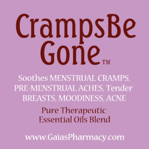 cramps-be-gone™ label for natural essential oils remedy for menstrual aches | Copyright © Cynthe Brush and www.gaiaspharmacopeia.com