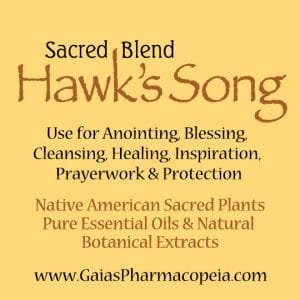 hawk's-song™ label for native american sacred oils blend | Photo Copyright © Cynthe Brush www.essentialoilsforhealing.com www.gaiaspharmacopeia.com www.gaiaspharmacy.com