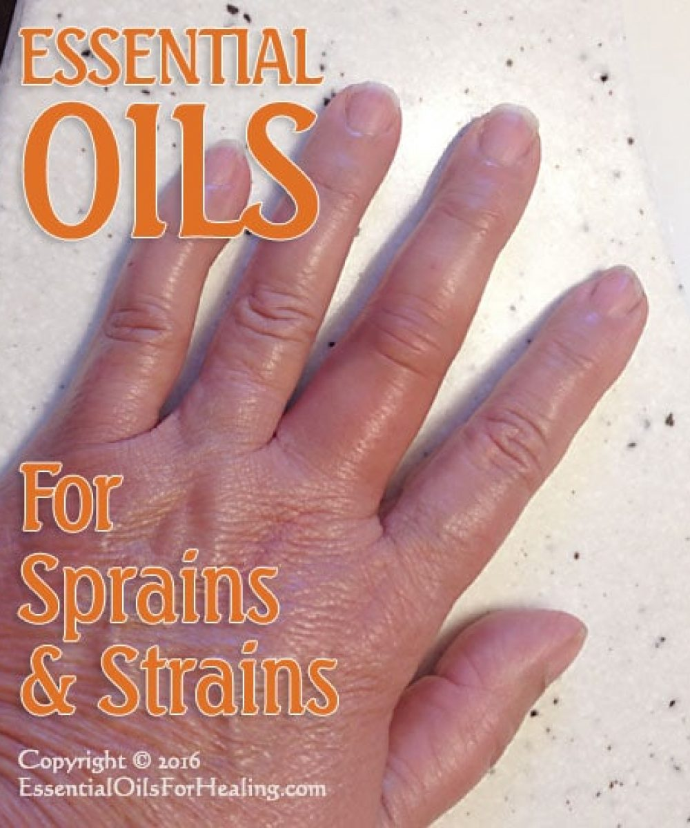 strained middle finger treated with essential oils